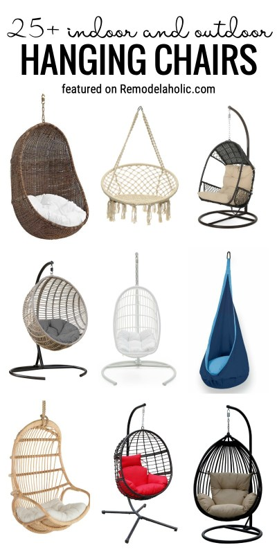 Have A Fun And Cozy Place To Relax Inside Or Out With One Of These 25+ Indoor And Outdoor Hanging Chairs Featured On Remodelaholic.com #rattanchairs #papasanchairs #swingingchairs