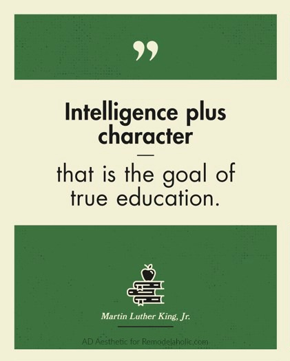 True Education Quote Martin Luther King Jr Printable Quote Green Wall Art, AD Aesthetic For Remodelaholic