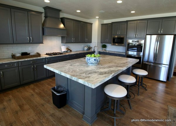 All Gray Kitchen Cabinetry With White Countertops, UVPH 2018 Ivory Homes Model
