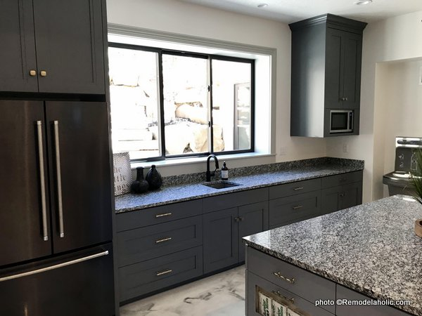 Dark Gray Kitchen Cabinetry, Granite Countertop, Built In Microwave, UVPH 2018 Home 32 Highland Custom Homes, Osmond Designs
