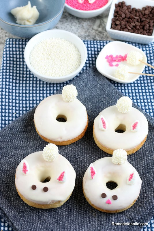 Easter Bunny Donut Frosting Decorating, Easy Baked Donut Recipe Remodelaholic
