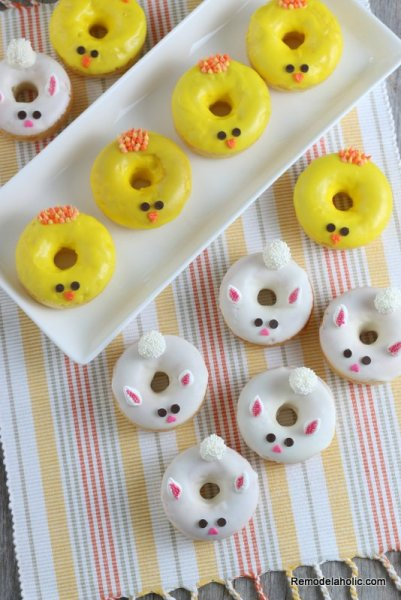 Easy Baked Donut Recipe With Easter Bunny Decorating Spring Chick Frosting Remodelaholic