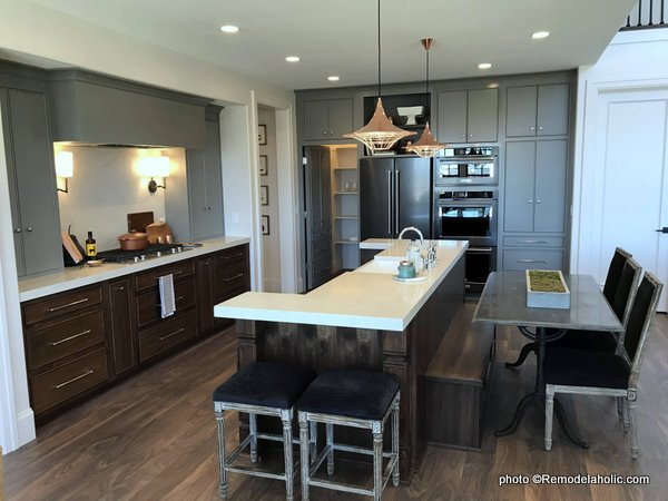 Modern Farmhouse Gray Kitchen Cabinets Uppers And Wood Lower Cabinets, White Countertop, UVPH 2018 Home 16 Arive Homes