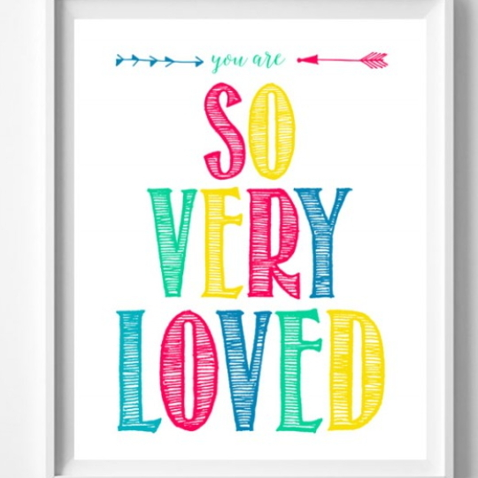 Printable Set, Image Showing Bright And Colorful Words Stating So Very Loved