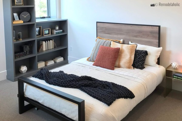 Mixed media modern headboard/ bed frame, SLPH 2018 Home 14 Magleby Communities, Photo by Remodelaholic