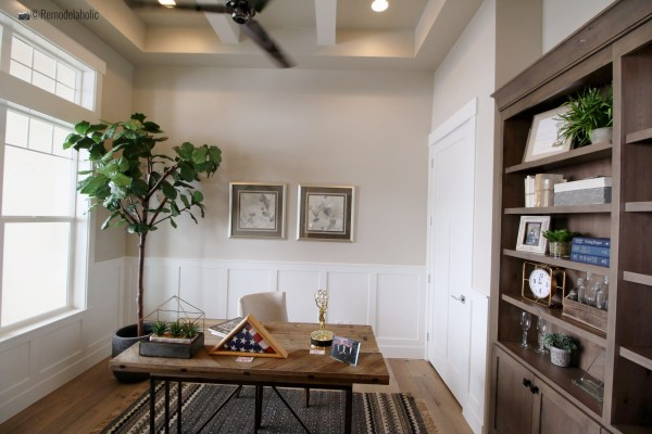 Waiscoting in home office, SPGH 2019 House 27 Slate Ridge Homes, Inc, Photo by Remodelaholic