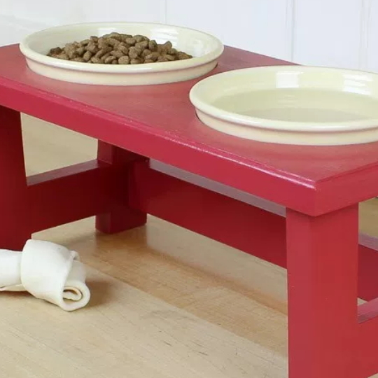 DIY Dog Food Bowl Stand For Small Pups, Red Painted With Cream Bowls Filled With Dog Food And Water