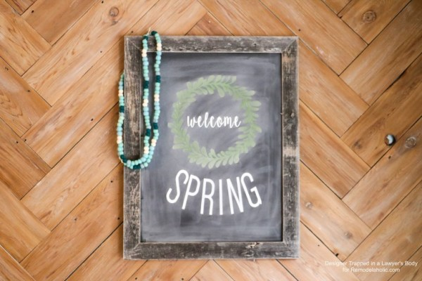 Reusable Faux Chalkboard Signs Framed Saying Welcome Spring