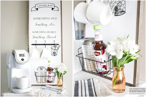 Space Saving Mini Coffee Bar Station And Sign