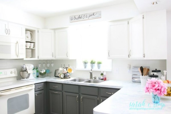 White Kitchen Renovation With Shiplap Backsplash And Grey Cabinets