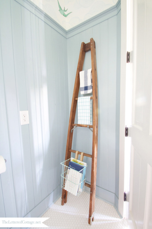Wooden Orchard Ladder As Bathroom Towel Holder And Magazine Rack, The Lettered Cottage
