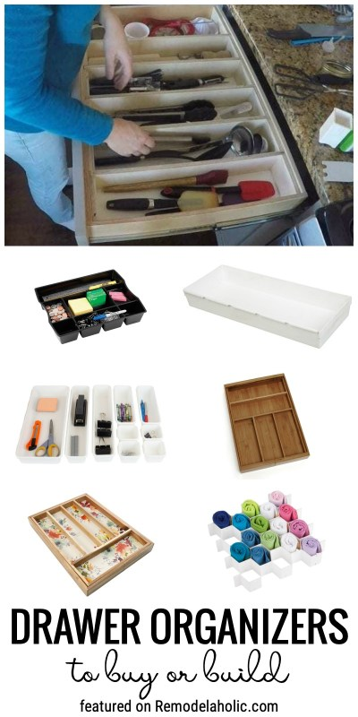 Drawer Organizers To Buy Or Build To Organize All The Drawers Throughout Your Home Featured On Remodelaholic.com