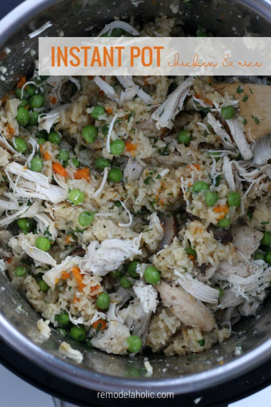 Easy Instant Pot Chicken And Rice Recipe With Peas And Carrots #remodelaholic