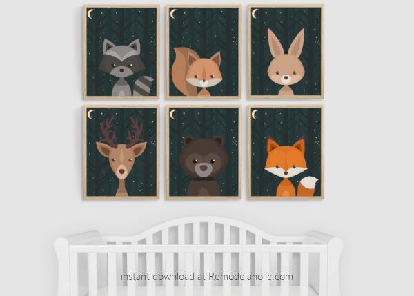 Night Sky Woodland Animals Nursery Art Printable Set Remodelaholic