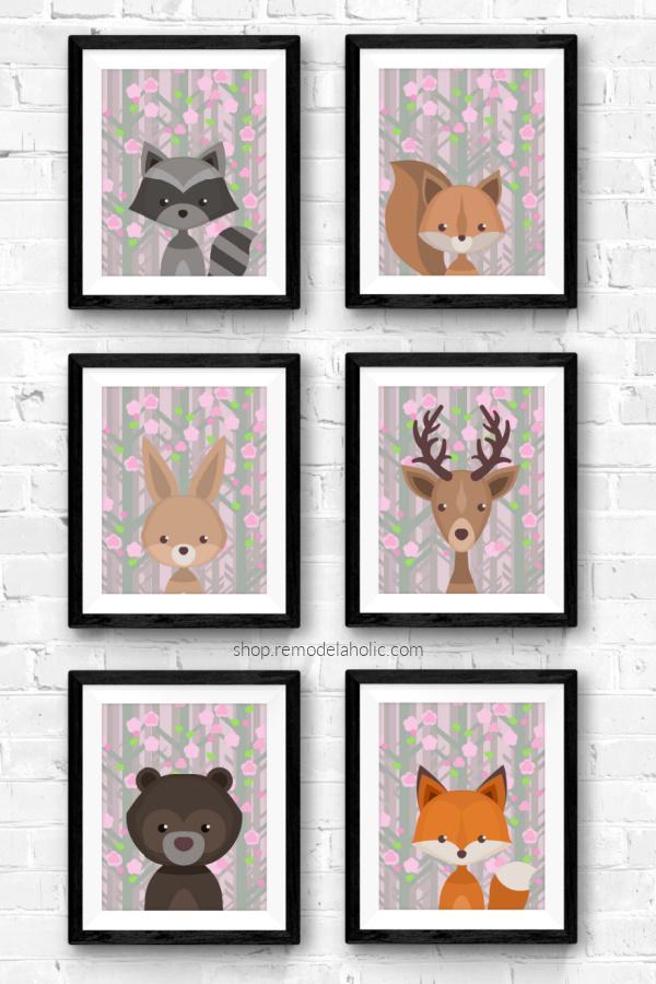 Pink Blossom Spring Woodland Animal Nursery Printable Art Set Remodelaholic