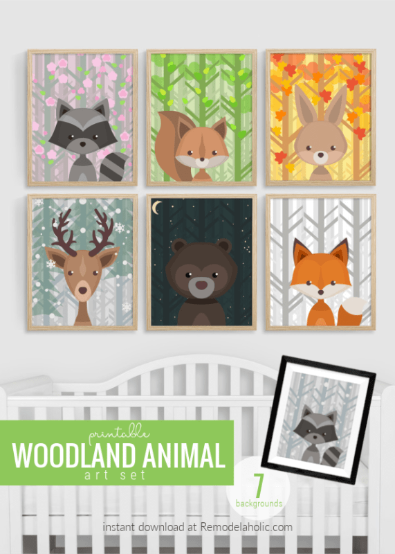 Printable Woodland Animal Nursery Art Set, All Seasons Plus Night Sky 7 Backgrounds 6 Creatures Remodelaholic