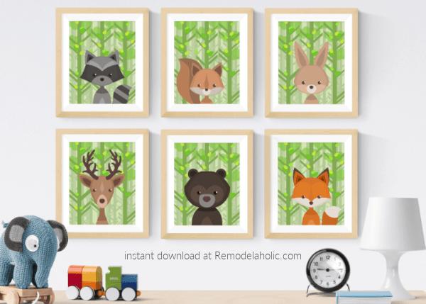 Summer Woodland Animal Nursery Art Printable Set Remodelaholic