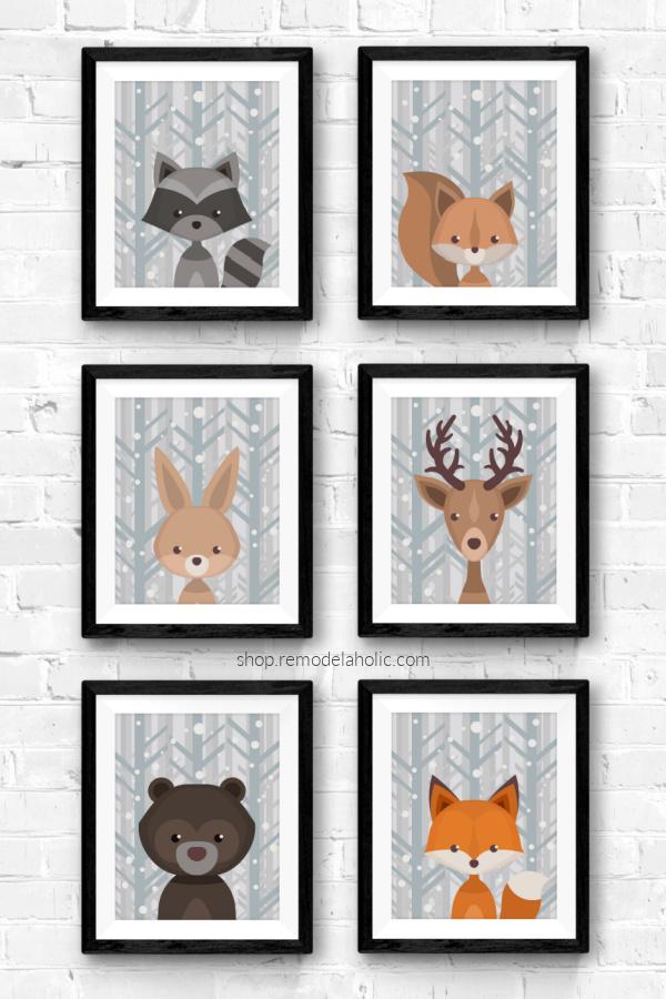 Winter Gray Birch Woodland Animal Nursery Art Printable Set Remodelaholic
