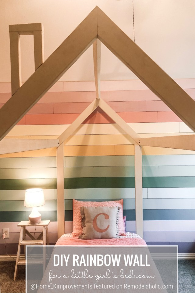Little Girl's Bedroom With House Frame Bed And Rainbow Wall, Colorful Modern Farmhouse Kids @home Kimprovements For Remodelaholic