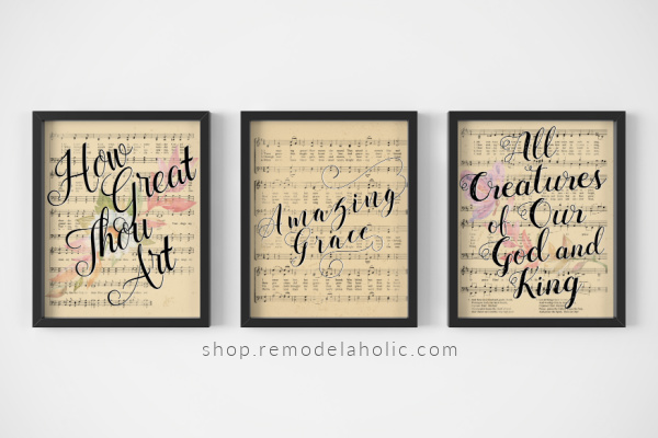 Printable Vintage Sheet Music Art: Easter Christian Hymns with Watercolor Flowers - How Great Thou Art, Amazing Grace, All Creatures of Our God and King