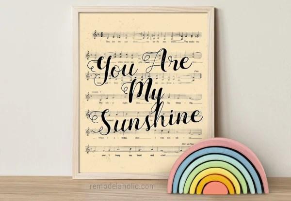 You Are My Sunshine Song Lyric Nursery Rhyme Vintage Sheet Music Art, Remodelaholic