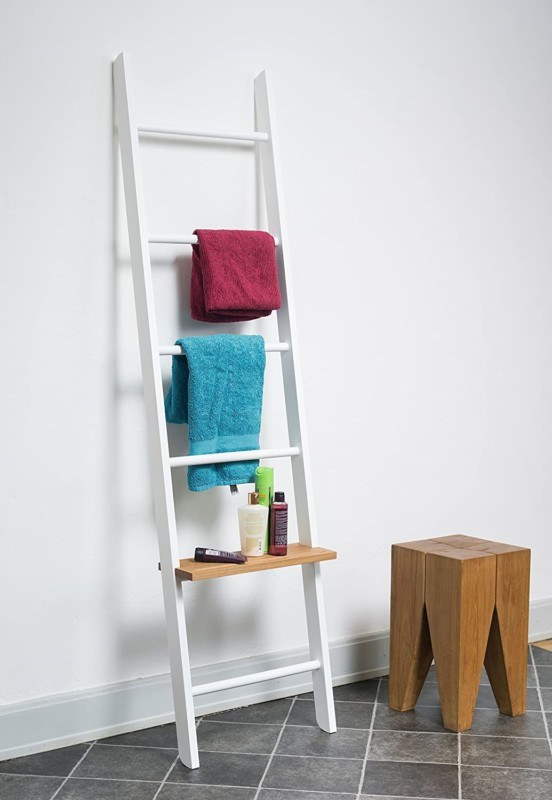 Bathroom Storage Ladder With Shelf, Via Amazon