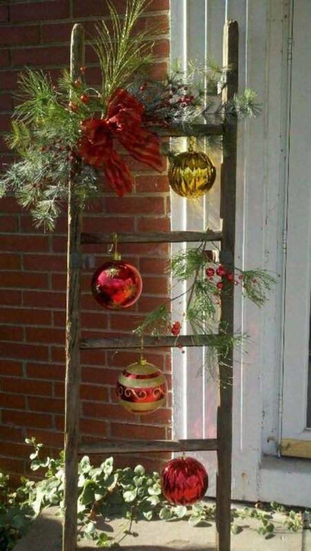 Porch Ladder Decor For Christmas Ornaments