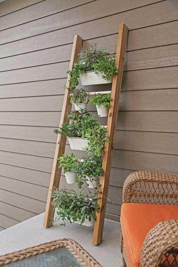 Vertical Wooden Ladder Porch Planter, Capper's Farmer