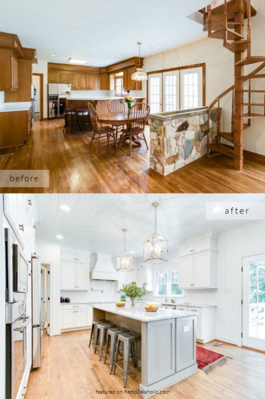 1980s Kitchen Remodel Ideas, Brown To White Kitchen Before And After Pictures, Cobblestone On Remodelaholic