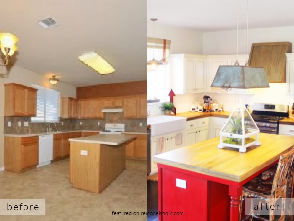 Before And After Builder Oak Kitchen Remodel To DIY White Farmhouse Kitchen, The Ragged Wren On Remodelaholic