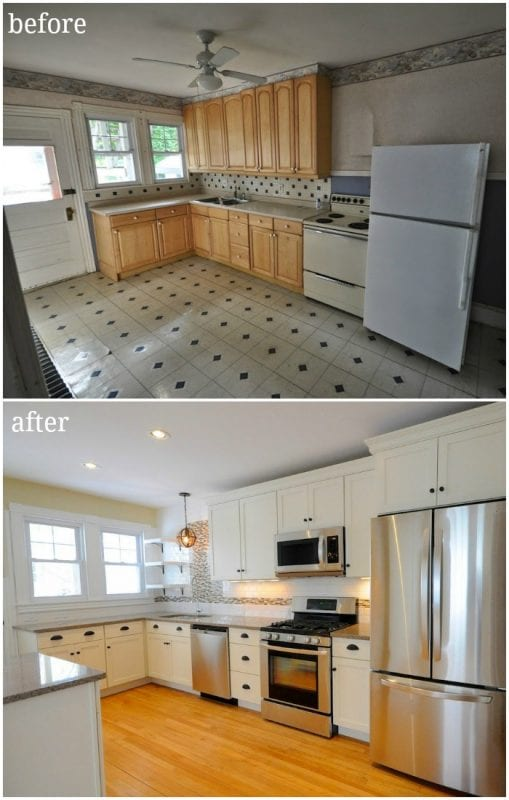 Dated Duplex Kitchen Remodel Before And After, White Kitchen Remodel Ideas, SoPo Cottage On Remodelaholic