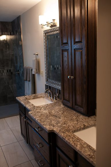 original cabinetry stained and refinished master bathroom remodel wichita ks vanity refinished