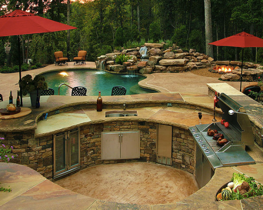 Big curvy outdoor kitchen island