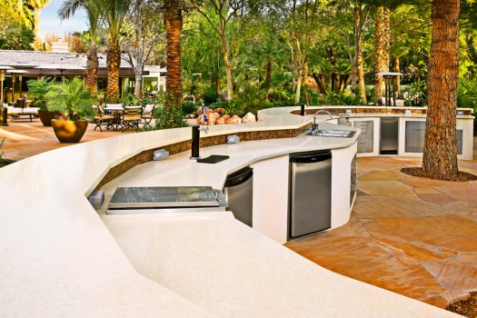Large curved outdoor kitchen