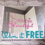 "Free Giveaway: ""You Are Beautiful"" Bathroom Mirror Decal"