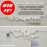 Free Giveaway! Custom Signature Necklace on a Dainty Chain