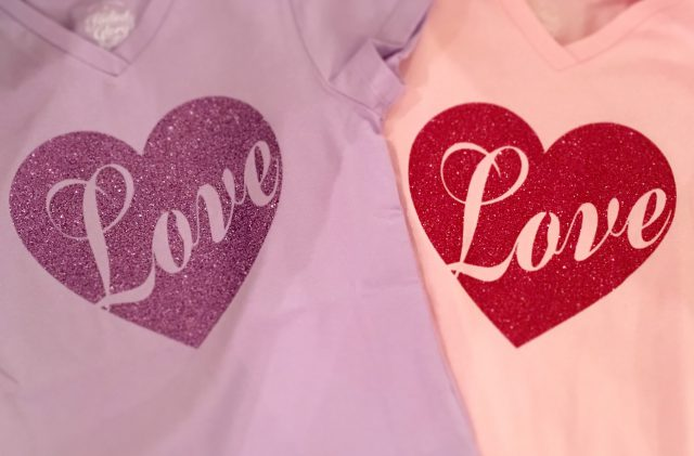 DIY Homemade glitter Valentine's Day Love Heart Shirts | Remodelicious