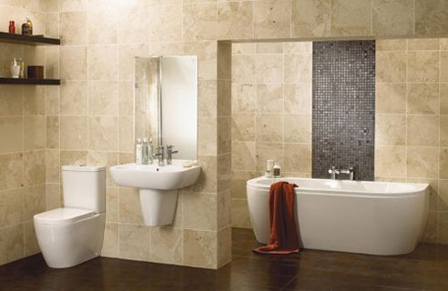Privacy wall for toilet in a modern master bathroom