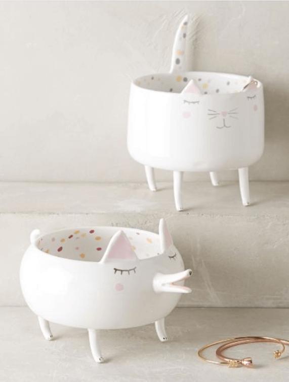Designer Ceramic Cat and Dog Trinket Dish