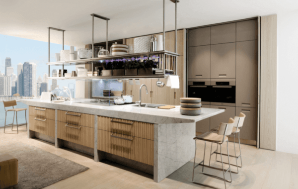Large Kitchen Island with Marble Countertop and Storage