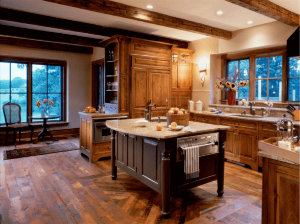 Reclaimed antique oak flooring in a traditional kitchen