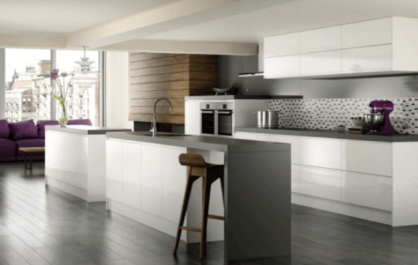 White and Grey Double Island Kitchen