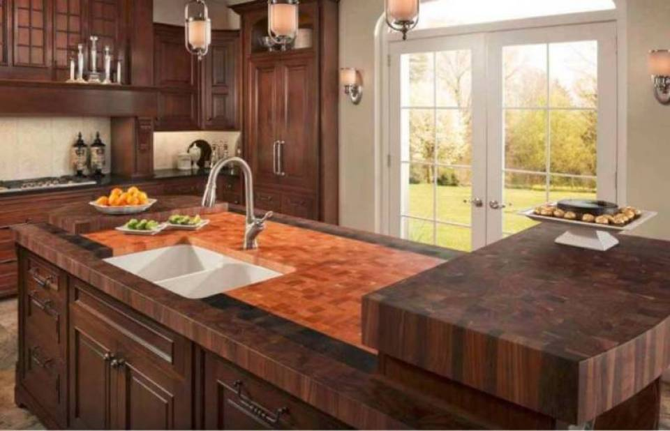 High End Butcher Block Kitchen Countertops in a Traditional Style Kitchen