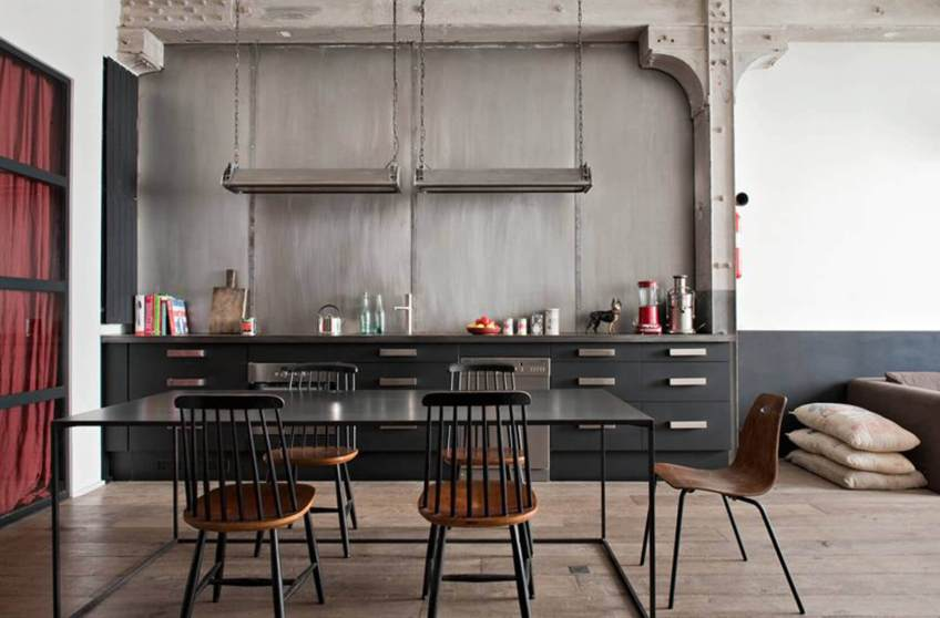 Black Kitchen Cabinets In Industrial Style Kitchen