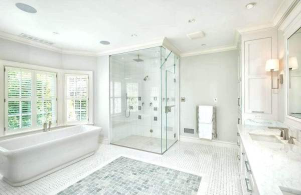Contemporary bathroom with ceiling trim