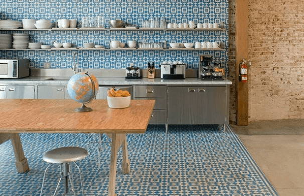 Encaustic Wall and Floor Tile in a Modern Kitchen