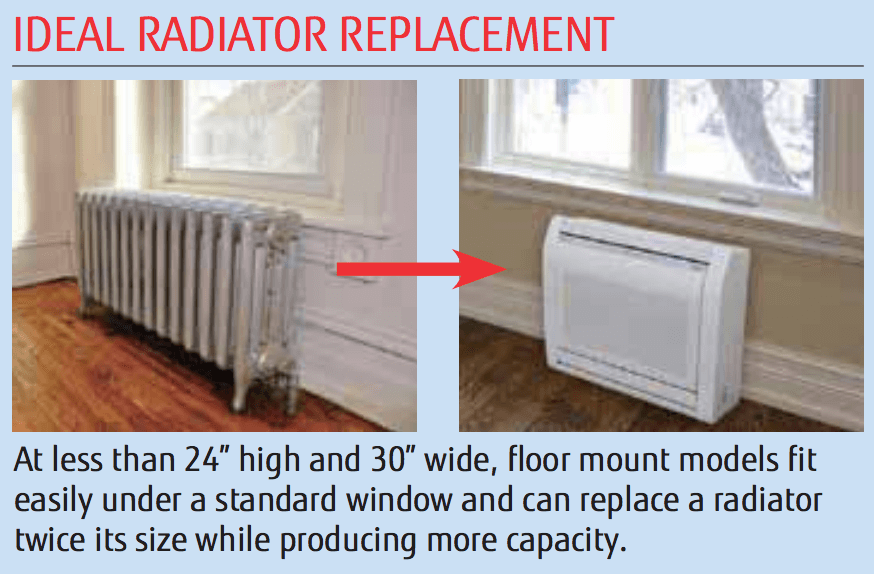 Floor mounted air handler replaces cast iron radiator