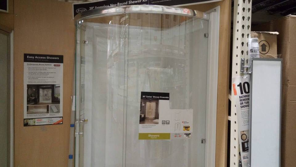 Round Glass Shower at Home Depot