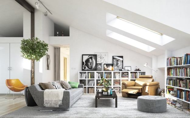 Skylights in a modern style living room