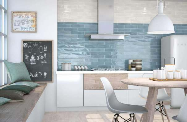 Tile for kitchen walls - blue and white glass tile